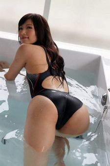 Hot japanese slut in tight swimsuit from behind.